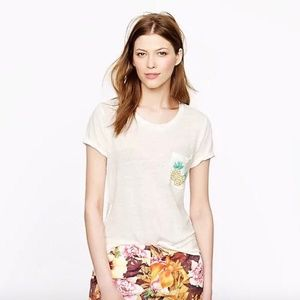 J.Crew Linen Pineapple Pocket Tee